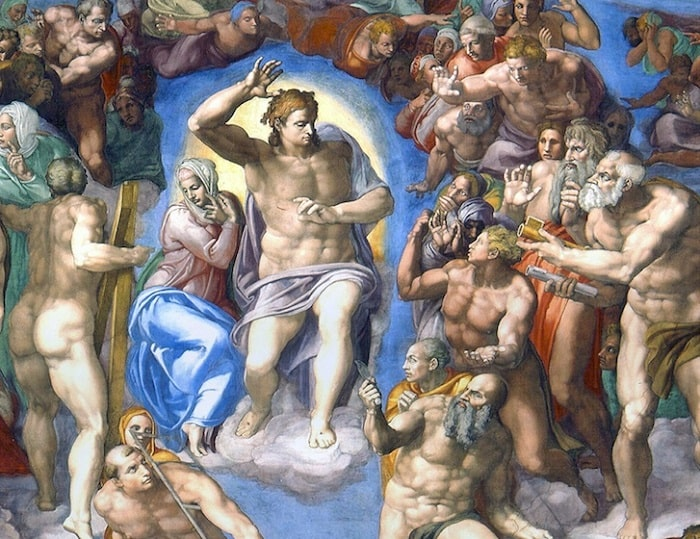 Фреска с Христом и Девой Марией