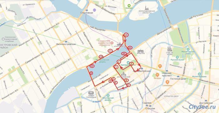 Схема маршрута по городу Санкт-Петербургу (расстояние 6,5 км., время 1,5-2 ч.)